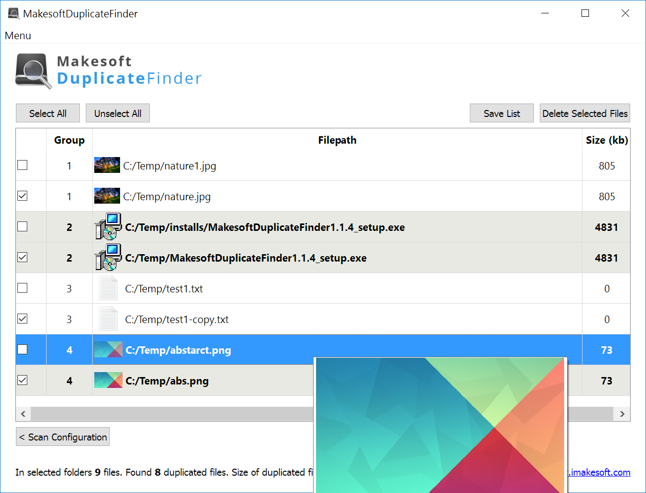 Click to view Makesoft DuplicateFinder screenshots